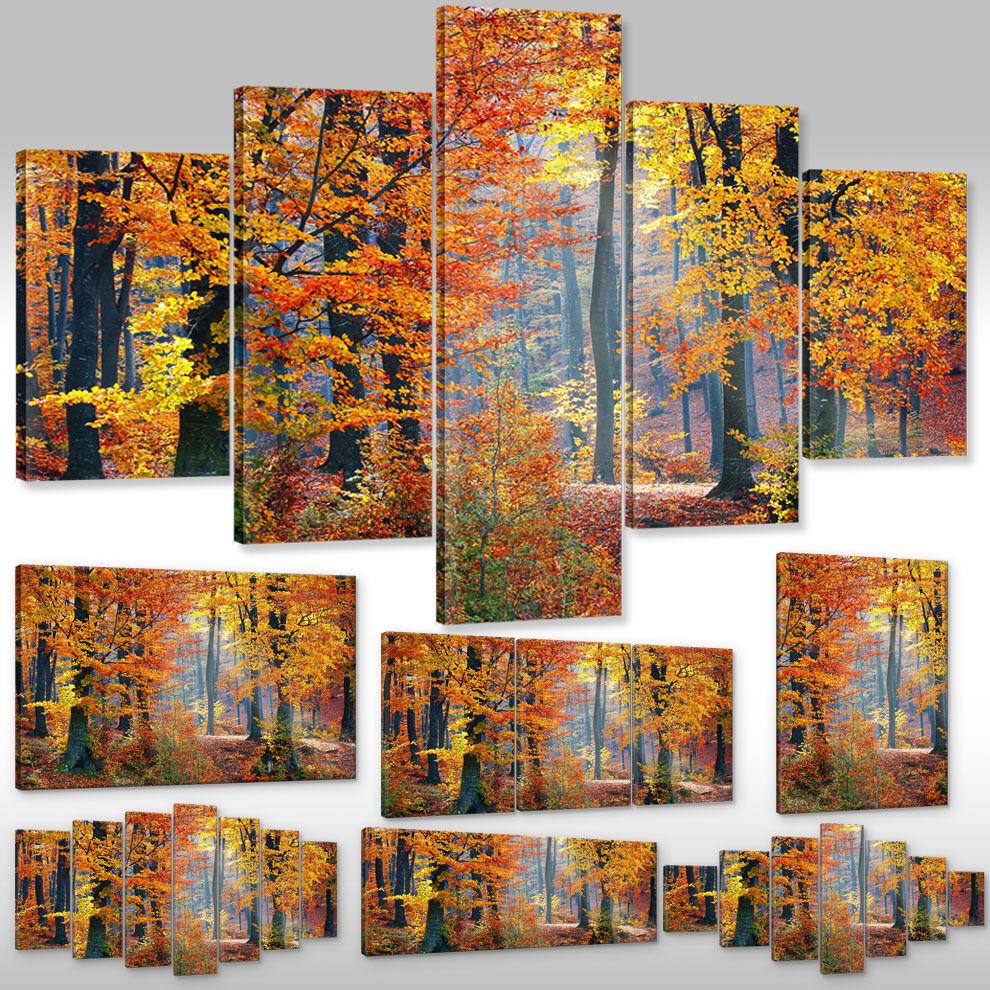 Leinwandbild Canvas Wandbild Kunstdruck Keilrahmen Landschaft herbstliche Bäume