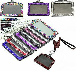 Lanyard And Id Badge Holder Sparkly Rhinestone For Photo Id Cards Crystal Bling