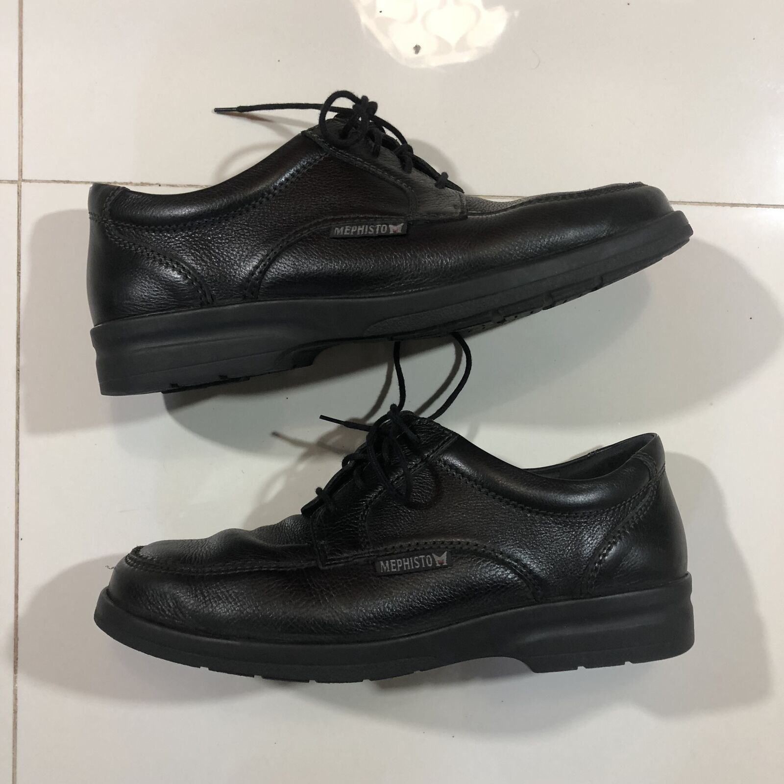 Mephisto Air Relax Black Leather Casual shoes Sz Mens USA 8 EUR 7.5 - USED