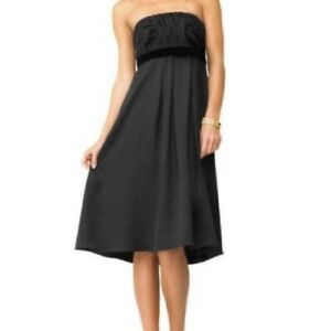 Banana-Republic-Women-s-Black-Silk-StraplessEmpire-Waist-Dress-Size-0