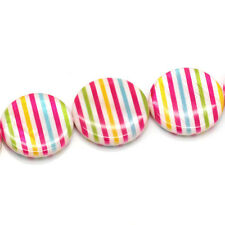 "BD 1 Strand Shell Loose Beads Stripe Pattern Round Multi 25mm(1"")"