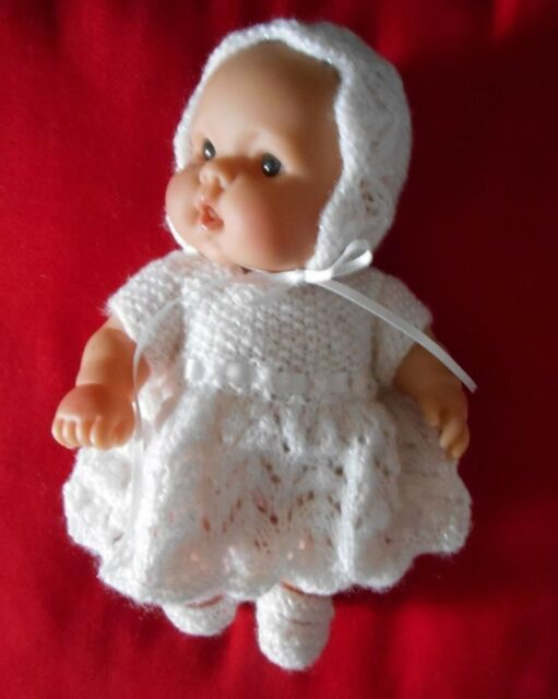 "Doll Clothes Hand-knit White Dress 3 Piece Set Fits 8"" Dolls"