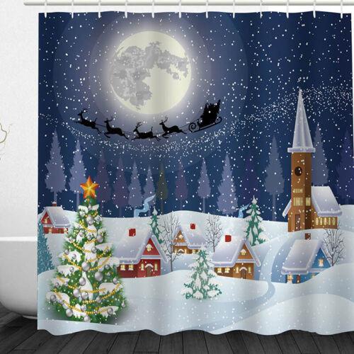Christmas Decoration Xmas Waterproof Bathroom Snowman Santa Shower Curtain Hooks