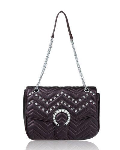 NewFashion Women Shoulder Quilted Handbag Chain Stain Cross Body Ladies Diamante