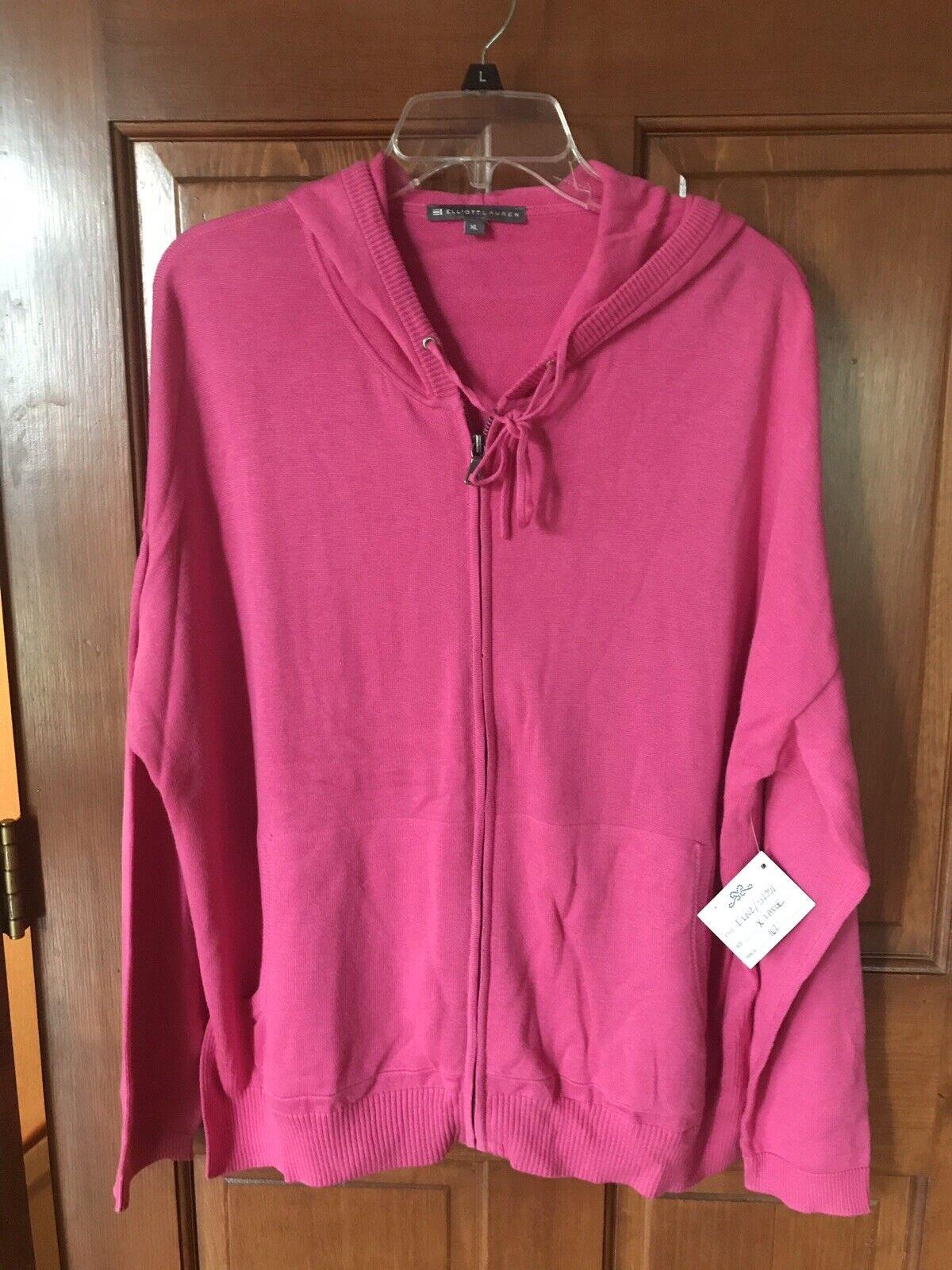 Elliot Lauren Cotton Blend Hooded Zip Up Sweater XL 162 162 162 Bright Pink 422338