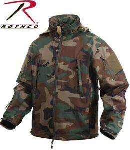 Woodland Camo Special Ops Tactical Soft Shell Waterproof Jacket Rothco 9906