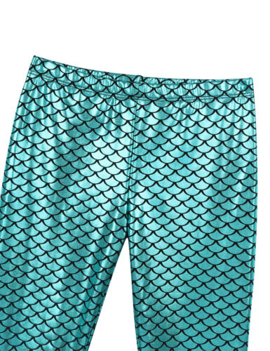 Girls Shiny Fish Scales Printed Bell Bottoms Child Flared Pants Mermaid Leggings