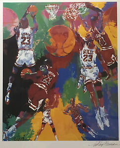 LeRoy-Neiman-MICHAEL-JORDAN-Hand-SIGNED-Limited-Edition-Lithograph-CHICAGO-BULLS