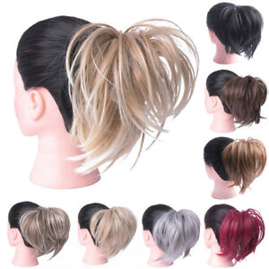 Synthetic-Tousled-Hair-Bun-Straight-Elastic-Scrunchies-Wrap-Ponytail-Extensions