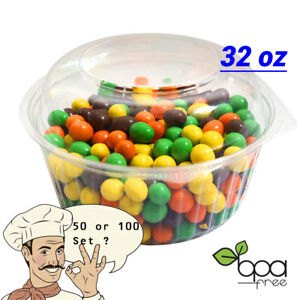 48oz Round Deli Food//Soup Restaurant Storage Container Cups w// Lids BPA free DD