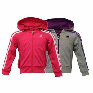 182ce01dda58 Image is loading Girls-Sweatshirt-ADIDAS-Kids-Hooded-Stripes-Top-Children-