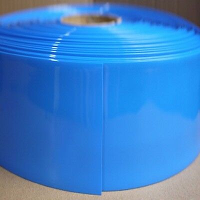 Blue Φ125mm Battery Sleeve Wrap PVC Heat Shrink Tube Thick Flat Width 195mm x 1M