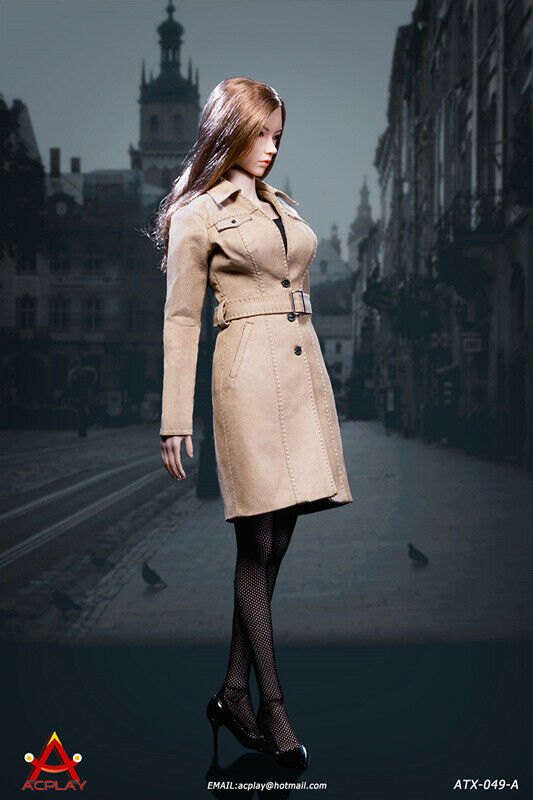 ACPLAY ATX049-A 1 6 Female Long Trench Coat Suit Fit 12'' Figure Body Collecte
