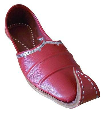 UK Size  8 9.5  New Indian Mens Red Mojari Khussa  Shoes 8.5 9