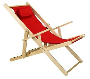 Image Is Loading Casual Home Sling Chair Natural Frame Red Canvas