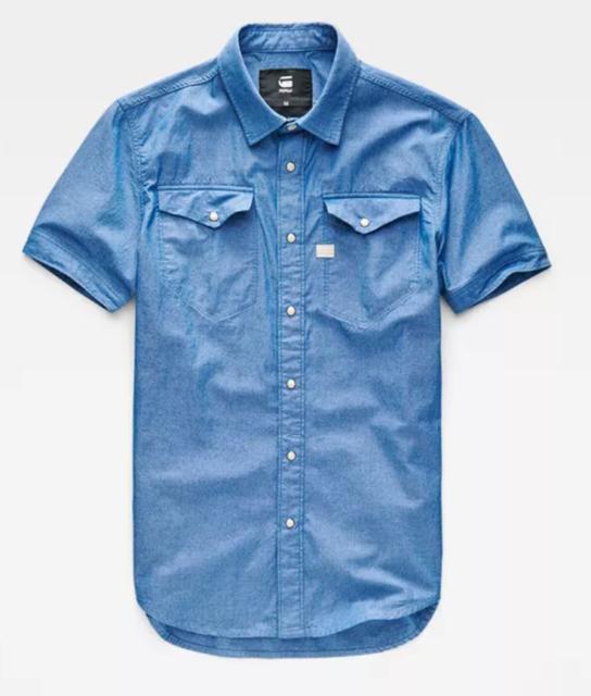 G-Star Raw Radar Men's Tacoma Deconstructed Shirt S/s Blue Medium Rinsed NYC