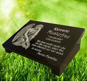 grabstein grabplatte grabschmuck 40x30x3cm mit st tze granit gravur ebay. Black Bedroom Furniture Sets. Home Design Ideas