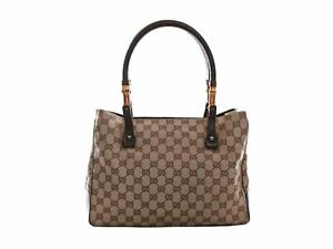 c46184cd39f Authentic Gucci Bamboo Brown GG Canvas and Leather Tote Bag Purse | eBay