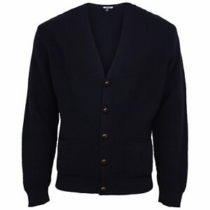 Relco Waffle Knit Cardigan Football Buttons Navy Black Green Burgundy Mustard
