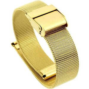 14mm-Stainless-Steel-Mesh-Milanese-Watch-Band-Bracelet-Color-Yellow-Gold-PVD