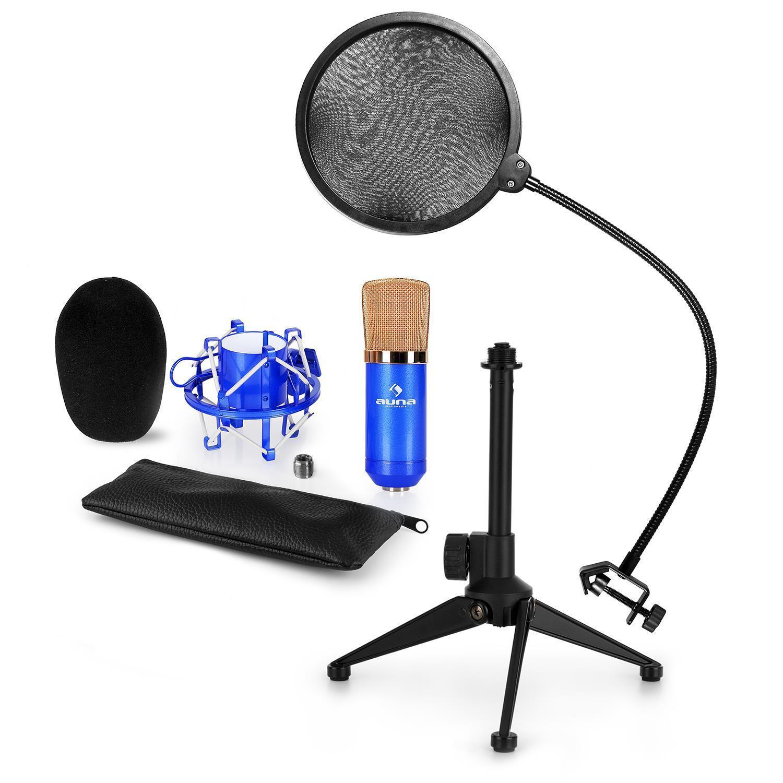 Auna USB Kondensator Mikrofon Popschutz Stativ Tasche Windschutz Spinne blau