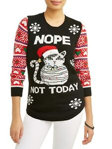 New Ugly Christmas Sweater Light Up Holiday Cat Graphic Junior Sizes