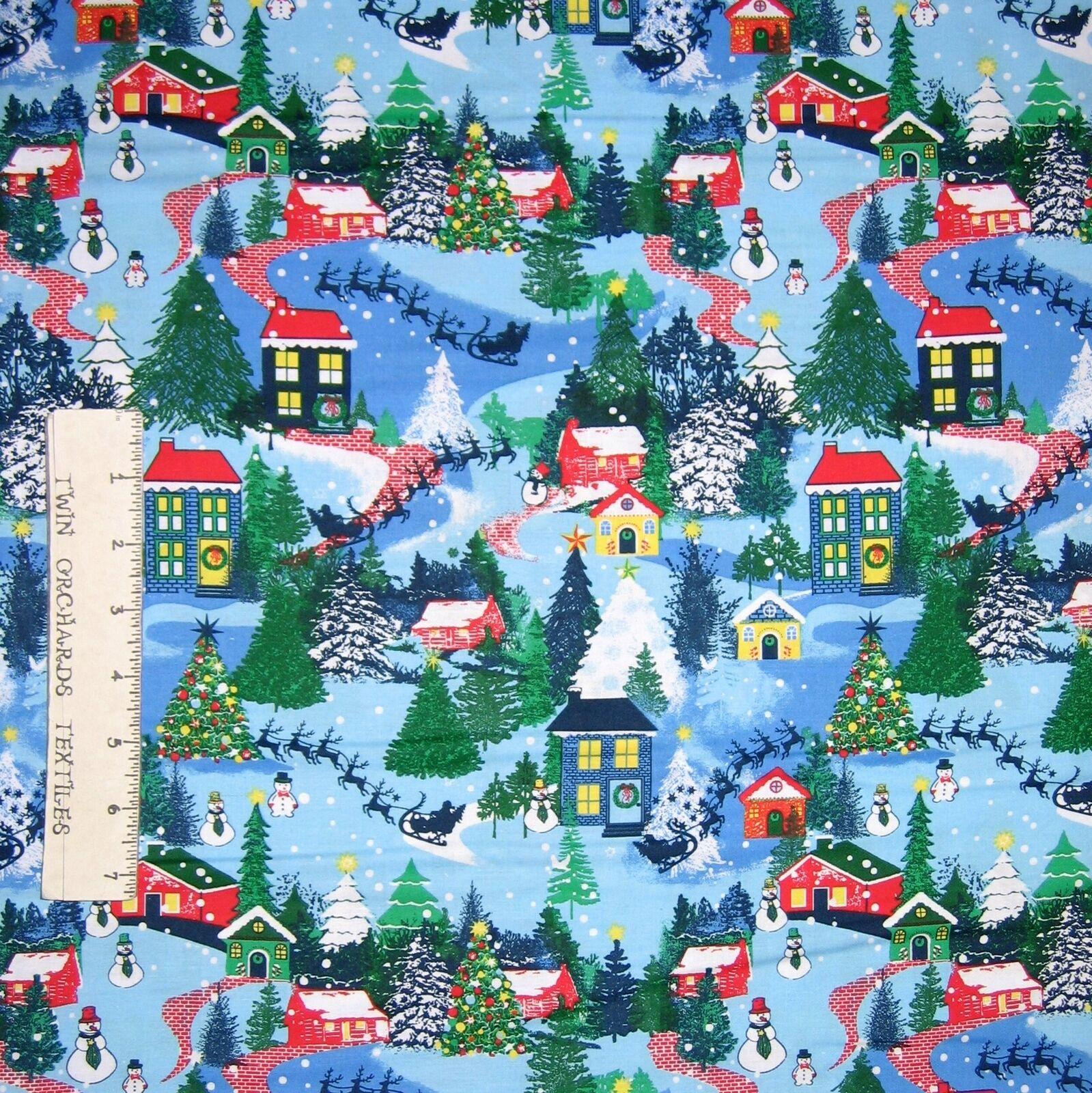 Christmas Fabric Snowman Snowflake Winter Snow Toss Blue QTSnow Daze Yard
