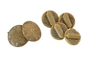 Button-Vtg-Art-Deco-Cream-Celluloid-Lot-6-Geometric-Metallic-Incised-Bakelite