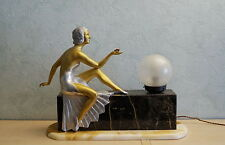 Original Art Deco Lampe Frau mit Schmetterling France 1930  Woman with butterfly