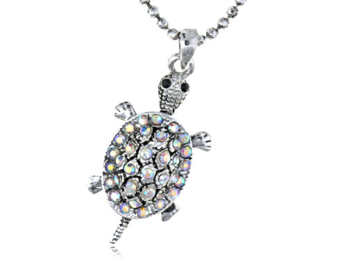 Tiny Tortue Aurora Borealis cristal strass tortue collier pendentif