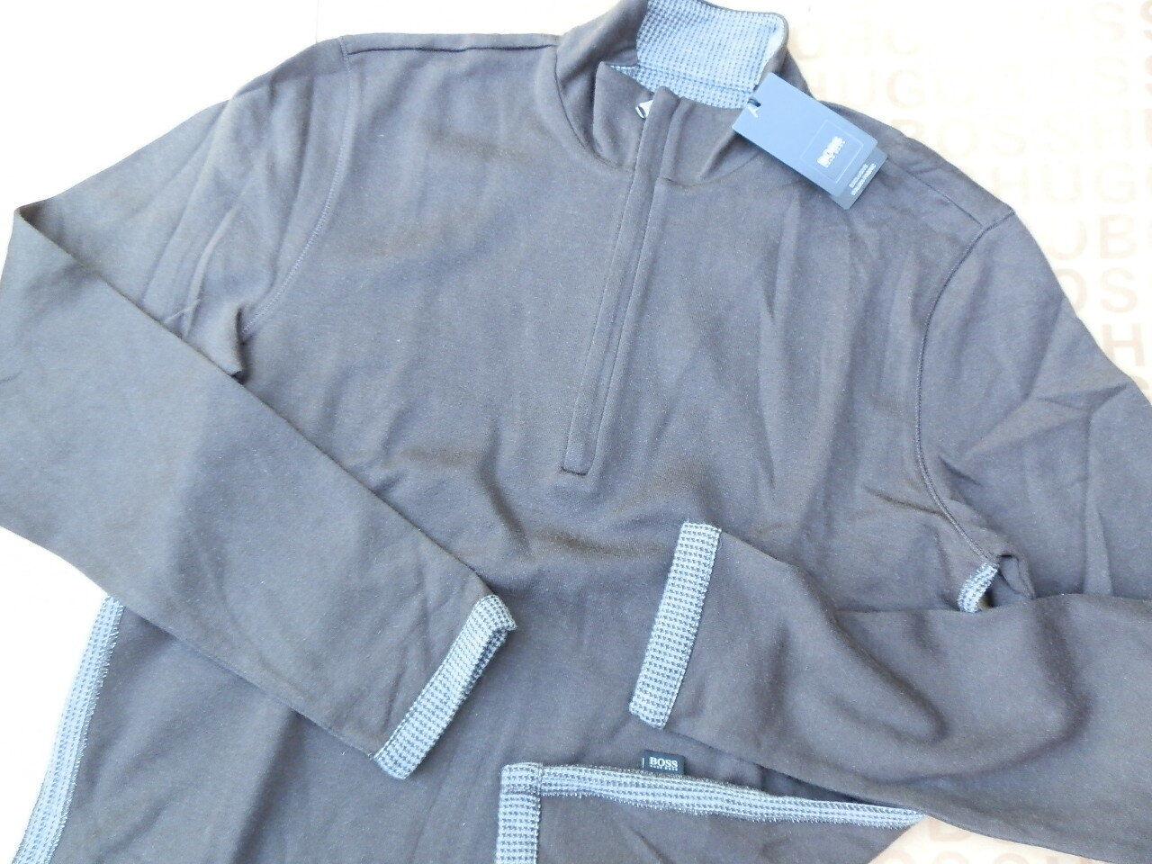 NEW HUGO BOSS  Herren braun ITALIAN KNITWEAR POLO CARDIGAN BAG SWEATER JUMPER SMALL