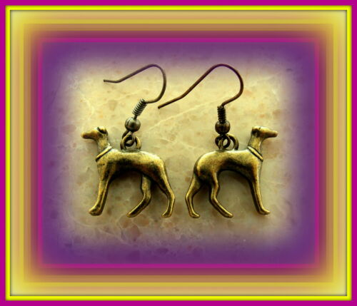 Sleek Vintage Antique Art Deco style GREYHOUND Dog Pup Earrings Jewelry