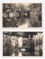 Lot 2 PHOTO ANCIENNE Bruges Belgique Canal Le Pont de Béguinage 1952 Cygne