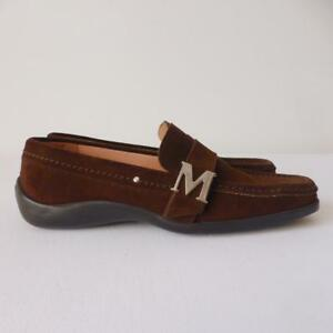 BRUNO-MAGLI-Women-039-s-Shoes-Brown-Suede-Slip-On-Loafers-Made-in-Italy-Size-38-5