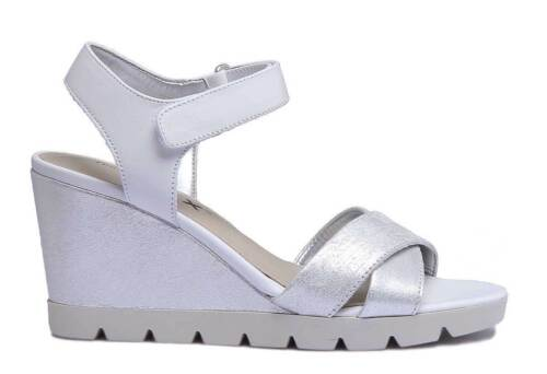 Details about  /The Flexx Lot Off Women Leather Strappy Wedge Sandals In Silver Size US 5-10