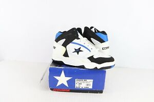 New-Vtg-90s-Converse-Youth-Size-4-5-Shadow-Mid-Leather-Basketball-Shoes-White