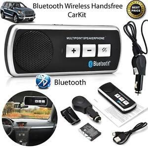 Sans-fil-Bluetooth-mains-libres-Kit-Voiture-Haut-parleur-Sun-Visor-Clip-chargeur-voiture