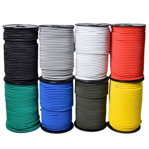 8MM X 15M ELASTIC BUNGEE ROPE SHOCK CORD BLACK WHITE RED BLUE GREEN YELLOW GREY