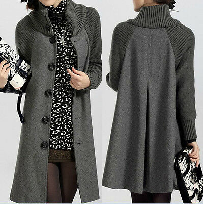 Autumn&Winter New Women's Woolen Knitted Sleeve Cape Cardigan Jacket Coat Parka