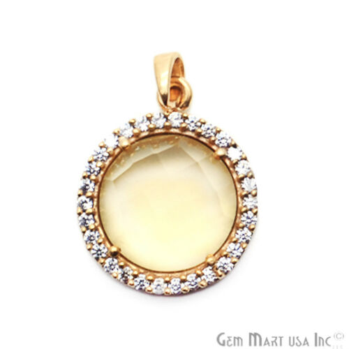 Gold Plated Round Charms Hydro Citrine Stone Cubic Zircon Pave Necklace Pendant