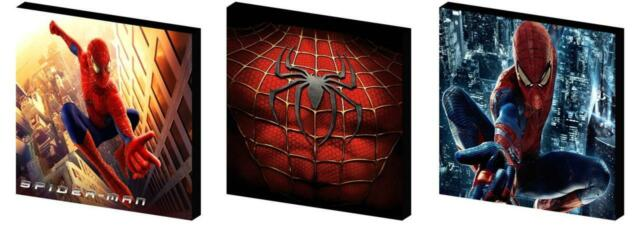 SPIDERMAN - CANVAS ART BLOCKS/ WALL ART PLAQUES/PICTURES