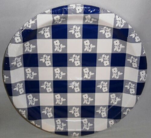 Plastic Coated Plates  Blue and White Squares 8 Ct 8-7//8/""