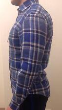 Ralph Lauren Blue & White Checked Linen Shirt Luxury Purple Label NEW Size M
