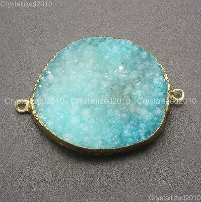 Natural Druzy Quartz Agate Bracelet Connector Charm Pendant Healing Beads Gold