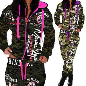 Camouflage-Damen-Jogginganzug-Jogging-Hose-Jacke-Sportanzug-Army-Trainingsanzug