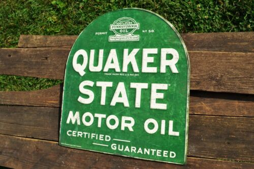 Quaker State Motor Oil Embossed Tin Metal Sign Retro Gasoline Tombstone