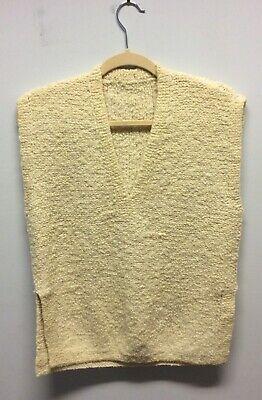 1970s Hand Knitted Nubby Lana Crema Canotta S-m-mostra Il Titolo Originale