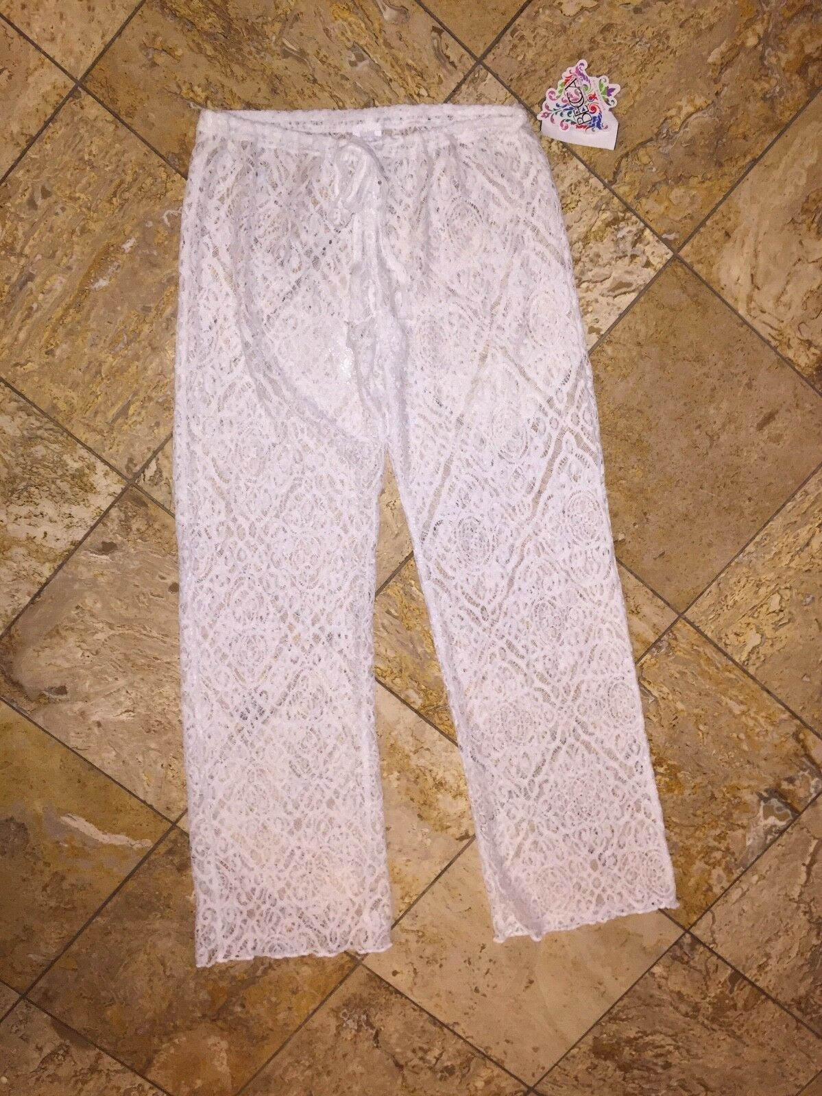 NWT  70 Becca by Rebecca Virtue White Lace Crochet Swimsuit Cover-up Pants M