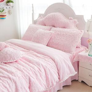 0fdc26ea3b bedding set 4pcs Princess style lace flannel velvet duvet cover bed ...