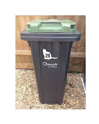 3 x Wheelie Bin Numbers Paw Print House Number Sticker Recycle Sign Dog Cat